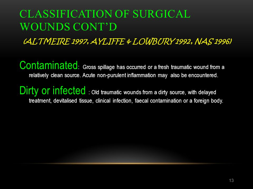 Classification of surgical wounds cont'd (Altmeire 1997, Ayliffe & Lowbury 1992, NAS 1996)