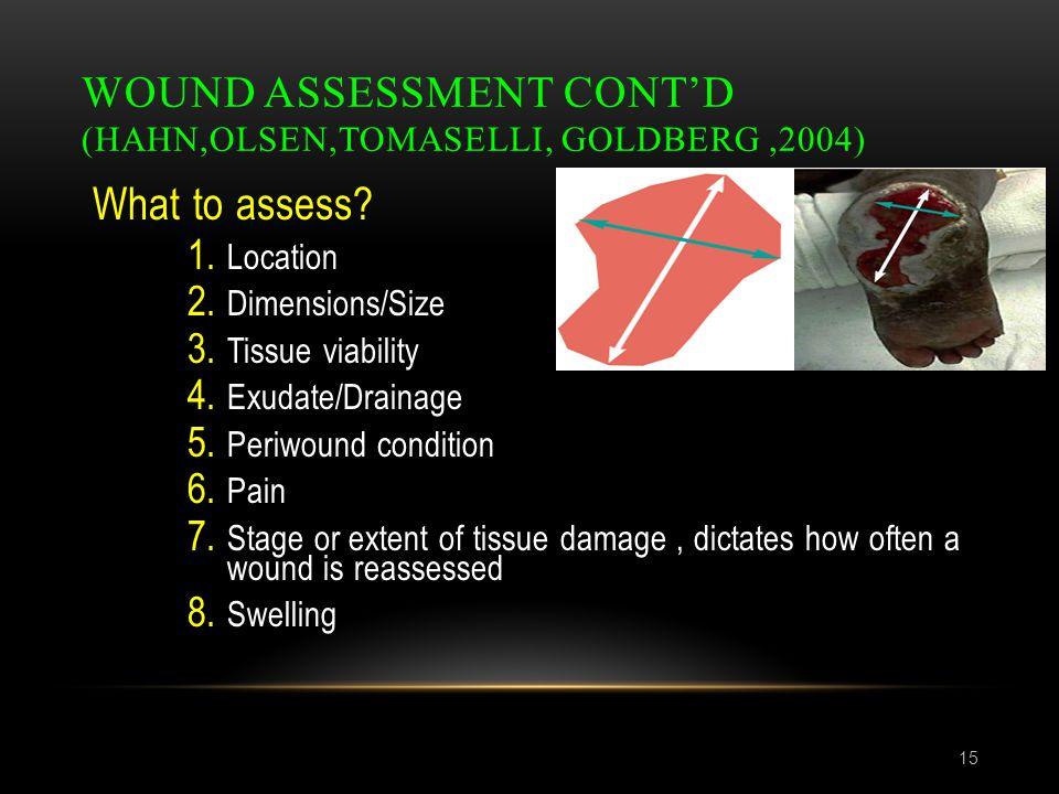 Wound assessment cont'd (Hahn,Olsen,Tomaselli, Goldberg ,2004)