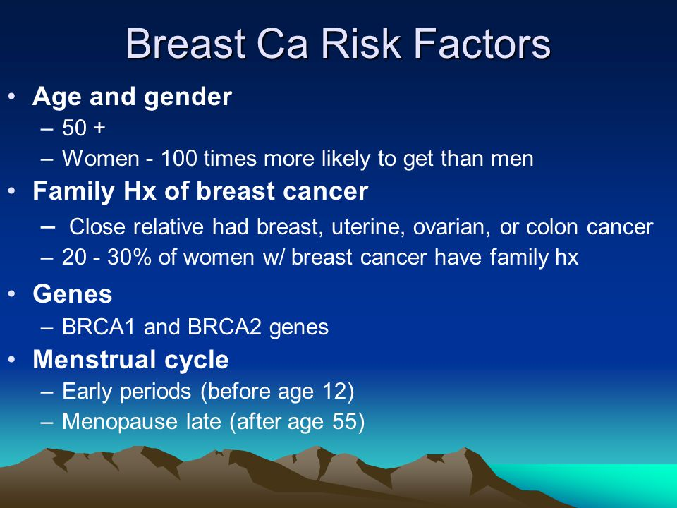 Breast Ca Risk Factors Age and gender Family Hx of breast cancer