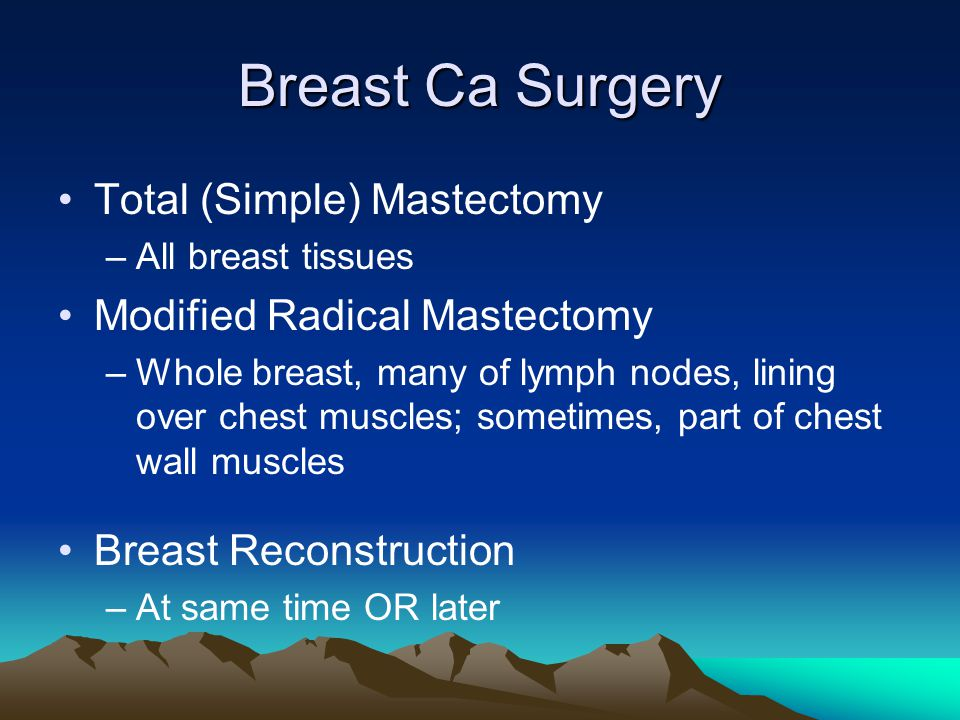 Breast Ca Surgery Total (Simple) Mastectomy