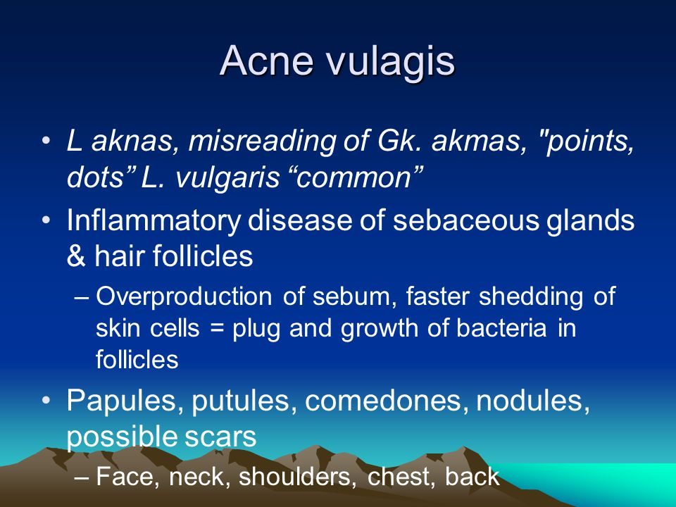 Acne vulagis L aknas, misreading of Gk. akmas, points, dots L. vulgaris common Inflammatory disease of sebaceous glands & hair follicles.