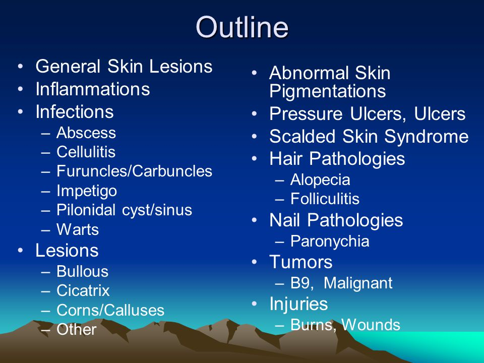 Outline Abnormal Skin Pigmentations General Skin Lesions Inflammations