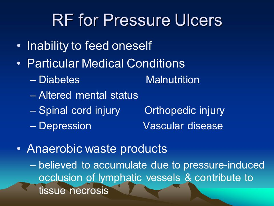RF for Pressure Ulcers Inability to feed oneself