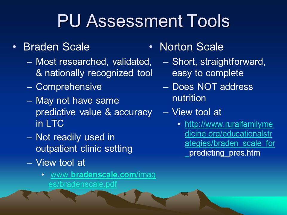 PU Assessment Tools Braden Scale Norton Scale