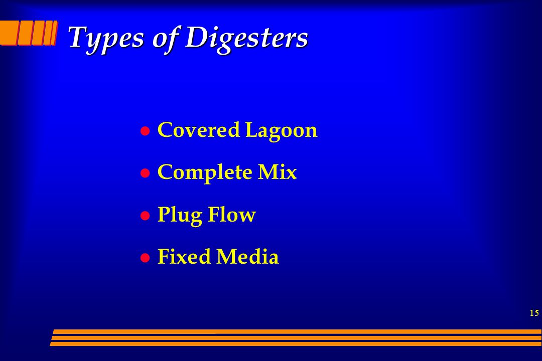 Types of Digesters Covered Lagoon Complete Mix Plug Flow Fixed Media