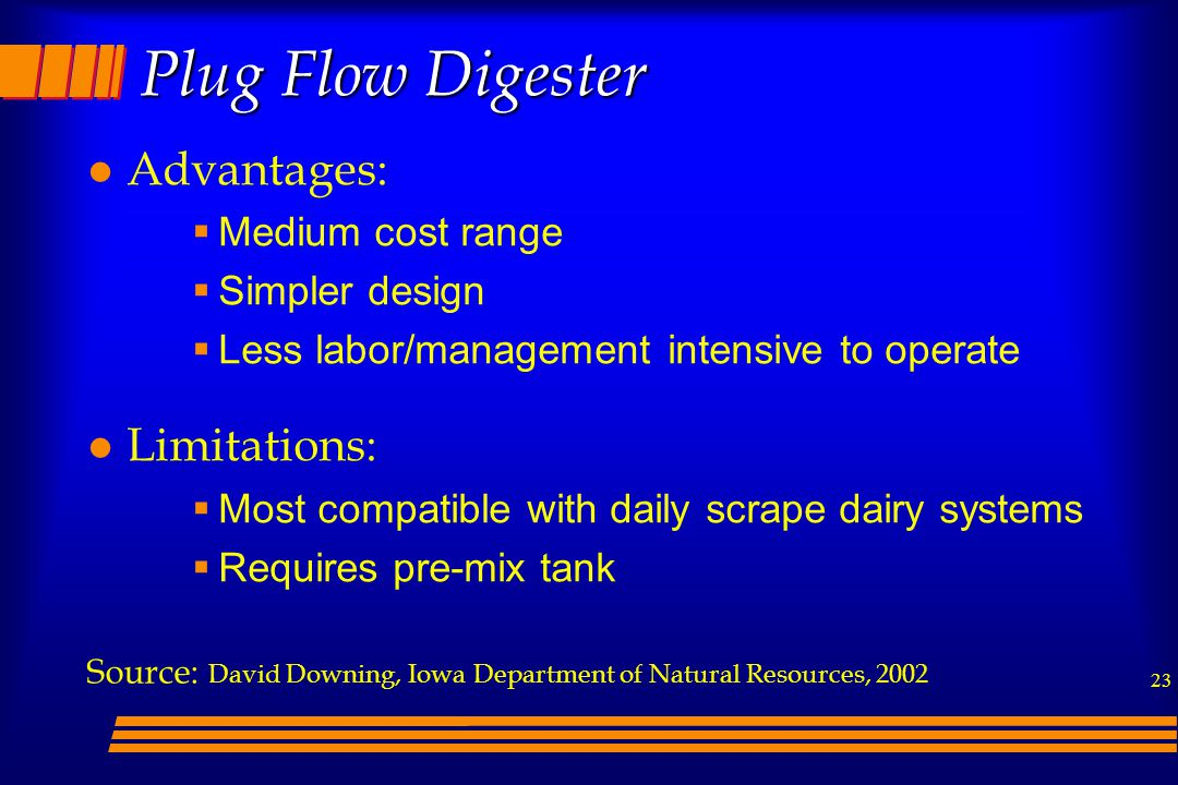Plug Flow Digester Advantages: Limitations: Medium cost range