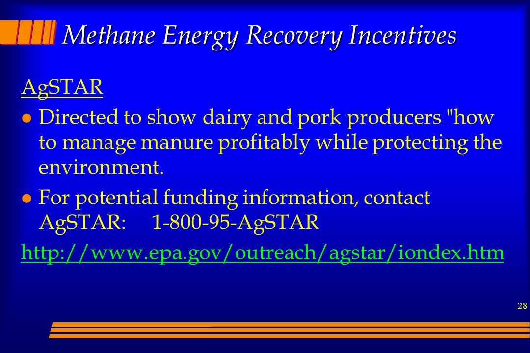 Methane Energy Recovery Incentives