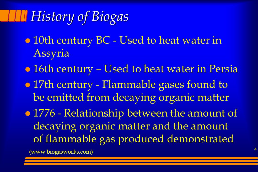 History of Biogas 10th century BC - Used to heat water in Assyria