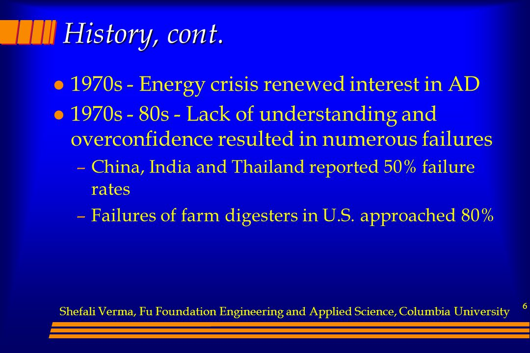 History, cont. 1970s - Energy crisis renewed interest in AD