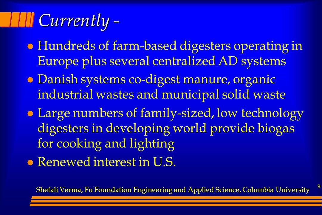 Currently - Hundreds of farm-based digesters operating in Europe plus several centralized AD systems.