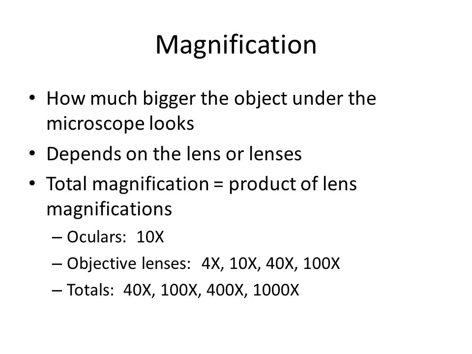 Magnification How much bigger the object under the microscope looks