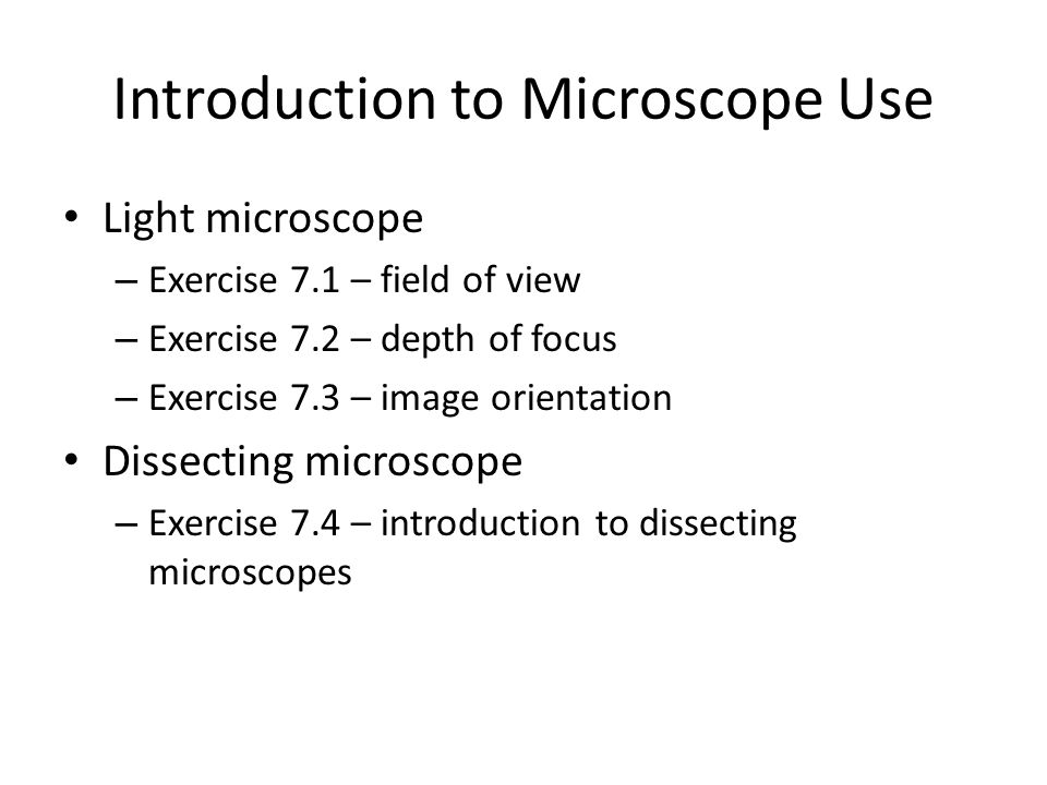 Introduction to Microscope Use
