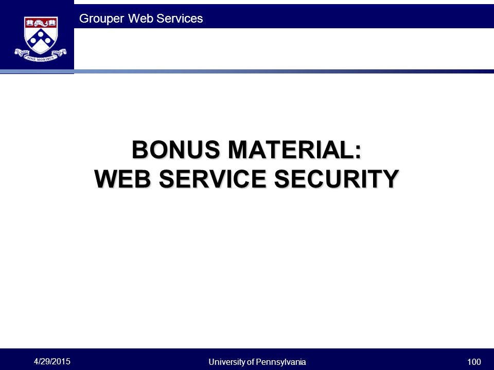 BONUS MATERIAL: WEB SERVICE SECURITY