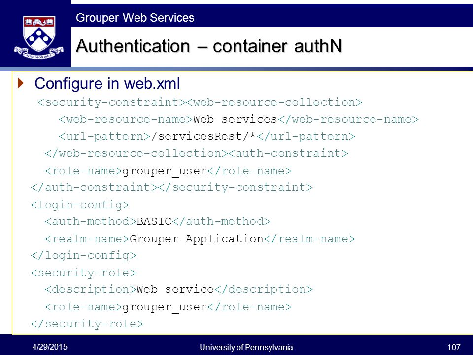 Authentication – container authN