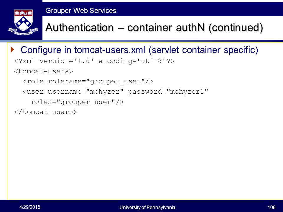 Authentication – container authN (continued)