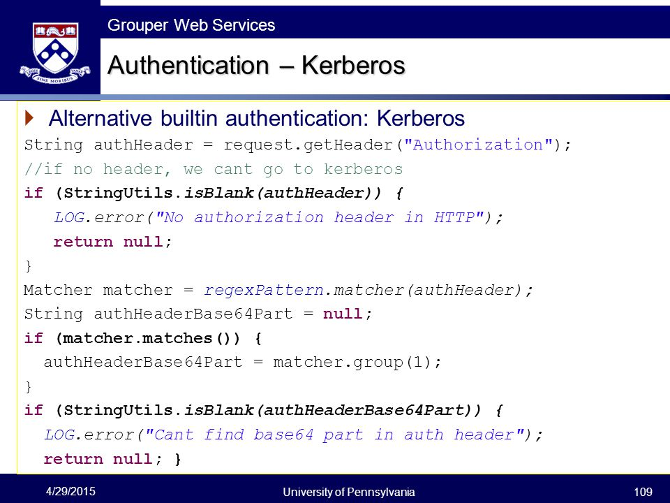 Authentication – Kerberos