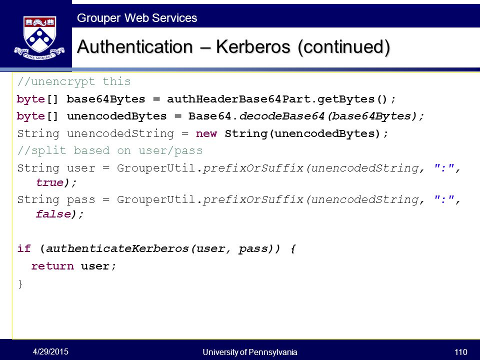 Authentication – Kerberos (continued)