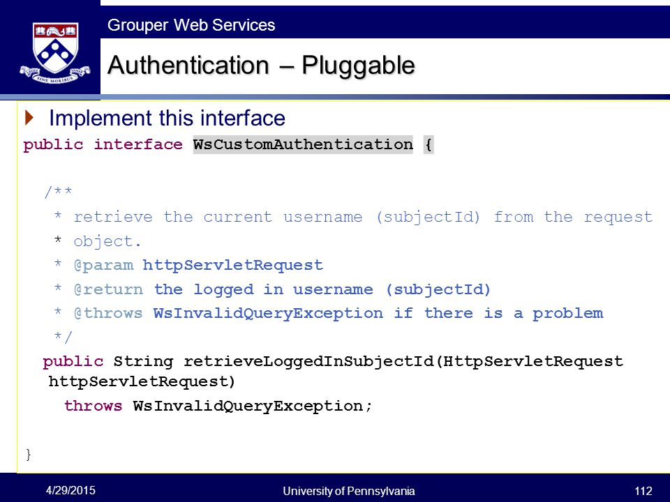 Authentication – Pluggable