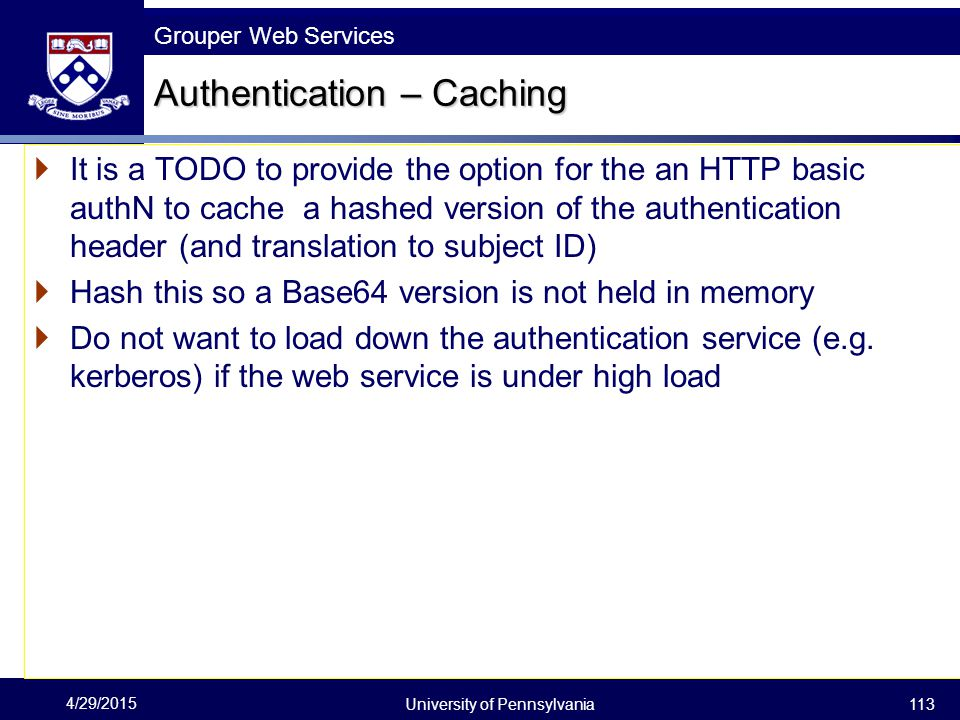 Authentication – Caching