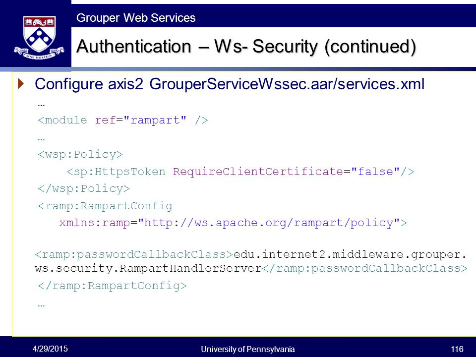 Authentication – Ws- Security (continued)