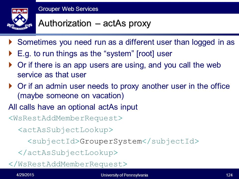 Authorization – actAs proxy