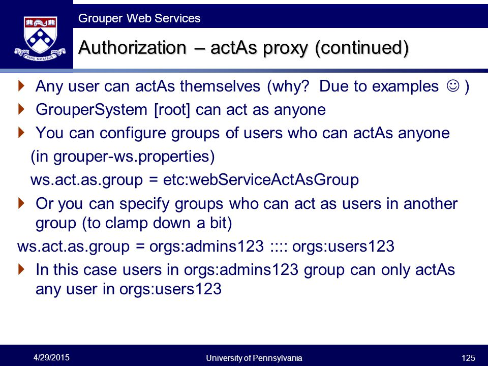 Authorization – actAs proxy (continued)