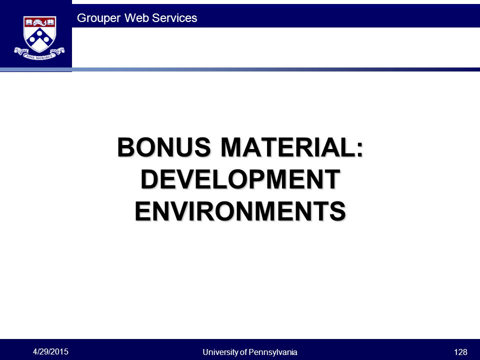 BONUS MATERIAL: DEVELOPMENT ENVIRONMENTS