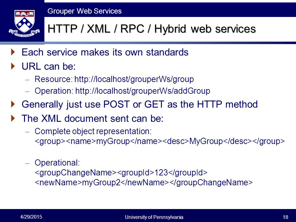 HTTP / XML / RPC / Hybrid web services
