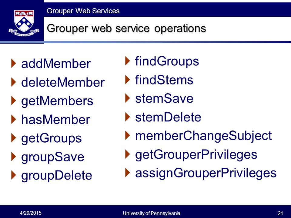 Grouper web service operations