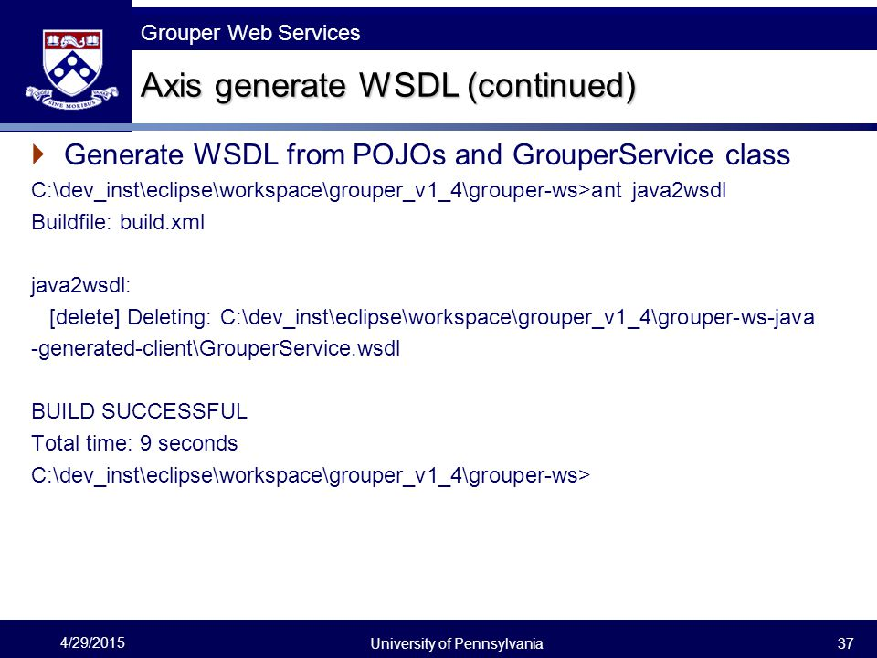 Axis generate WSDL (continued)