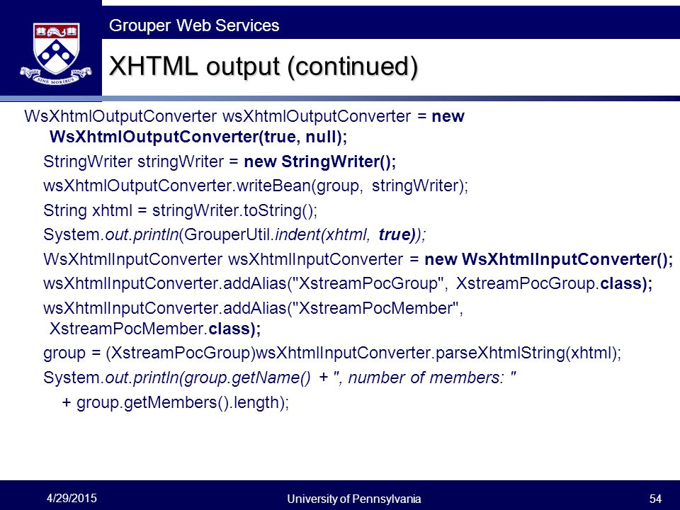 XHTML output (continued)