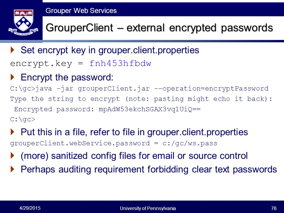 GrouperClient – external encrypted passwords