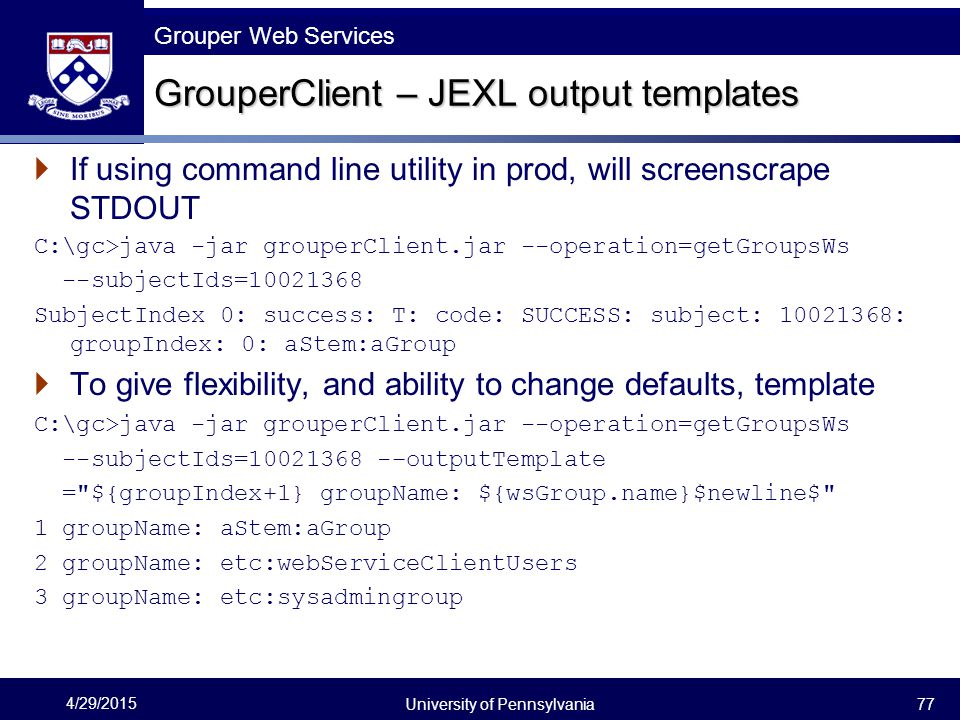 GrouperClient – JEXL output templates
