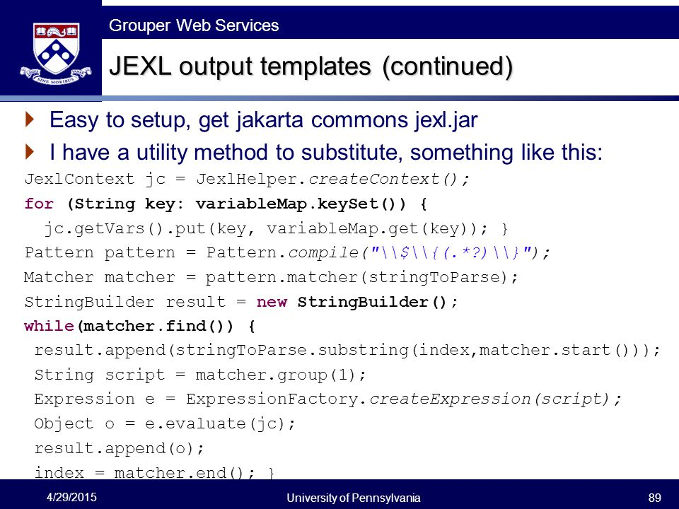 JEXL output templates (continued)