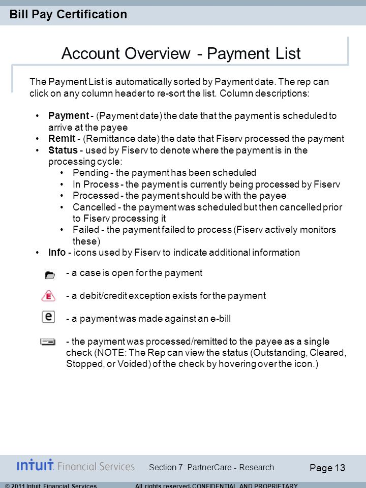 Account Overview - Payment List