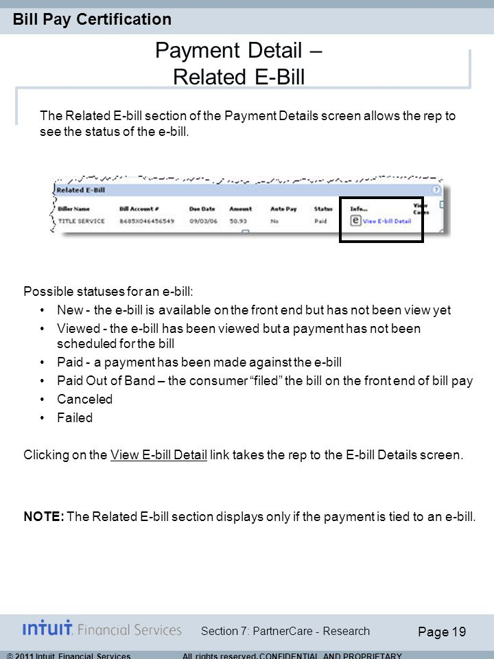 Payment Detail – Related E-Bill