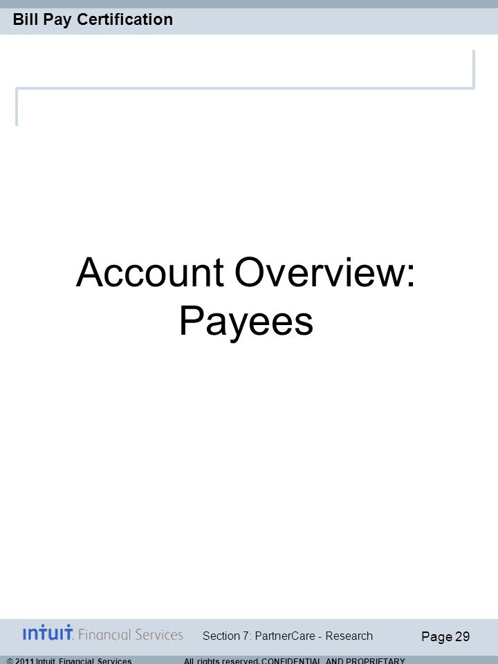Account Overview: Payees