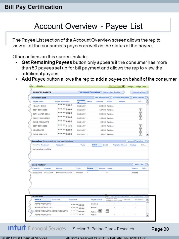 Account Overview - Payee List