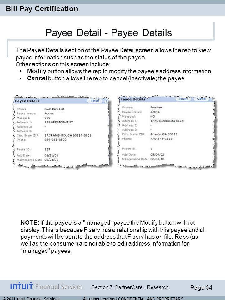 Payee Detail - Payee Details