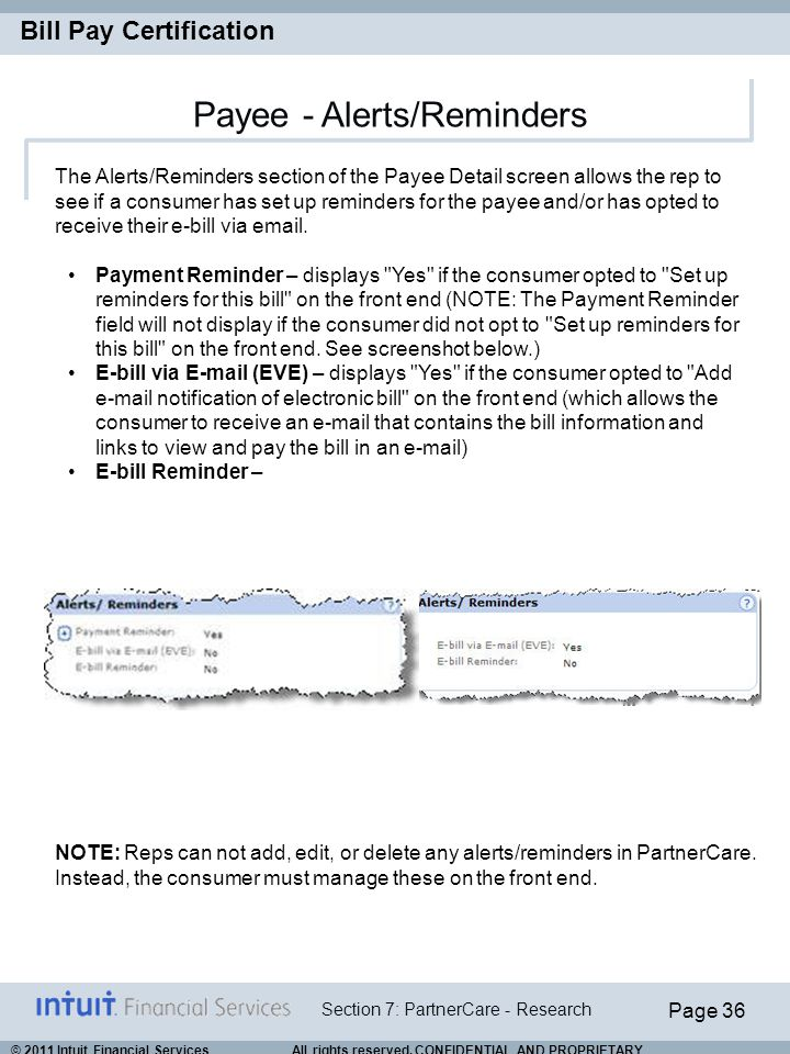 Payee - Alerts/Reminders