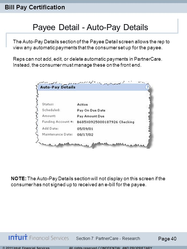 Payee Detail - Auto-Pay Details