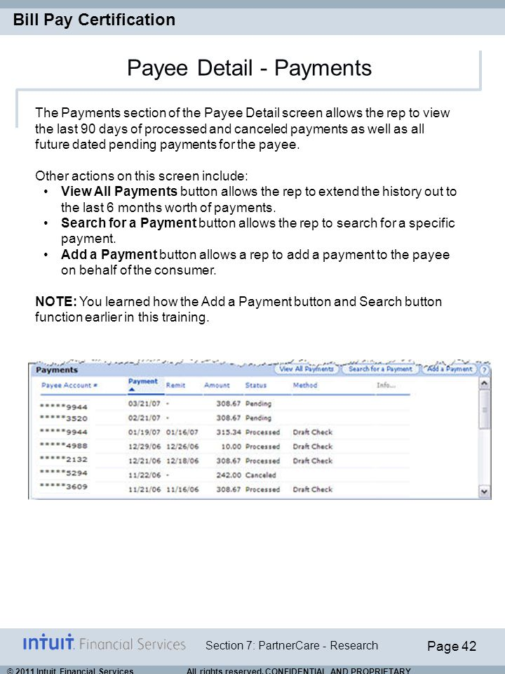 Payee Detail - Payments