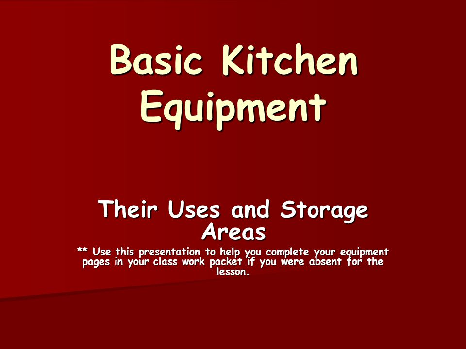 Basic kitchen equipment ppt video online download for Kitchen equipment and their uses