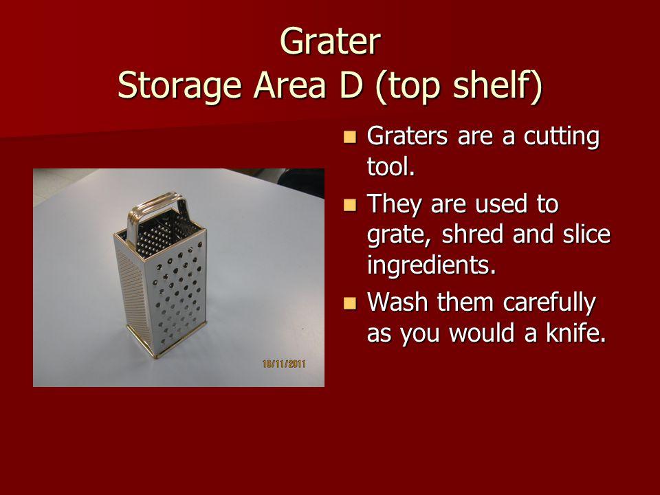 Grater Storage Area D (top shelf)