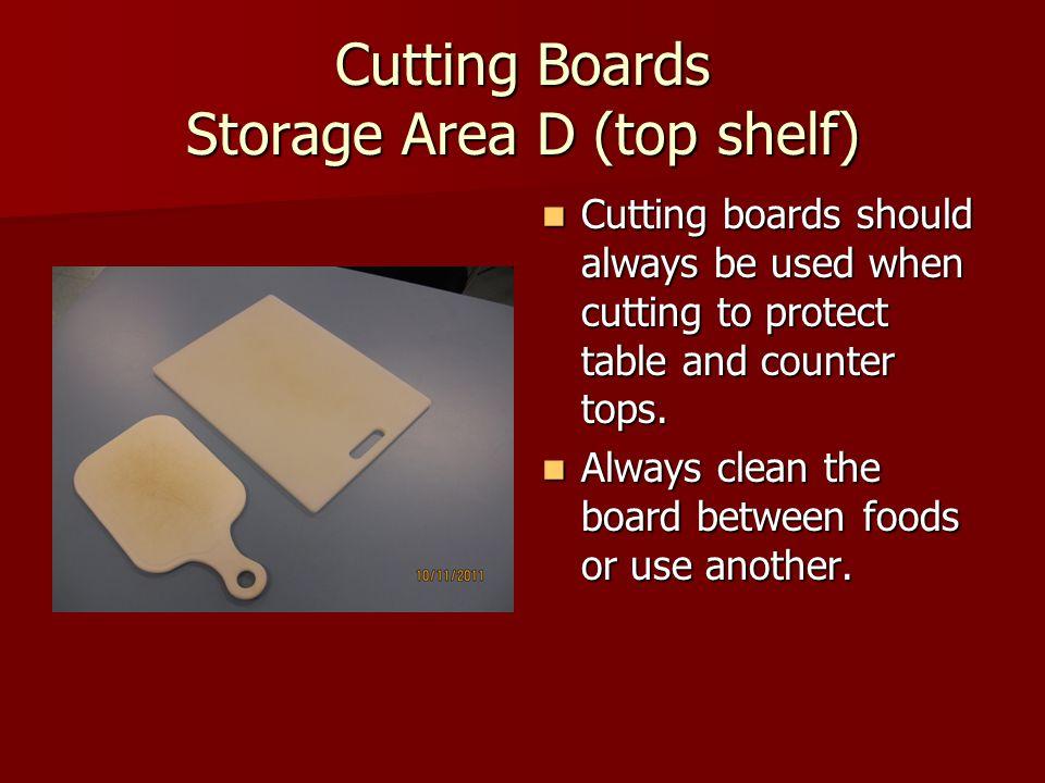 Cutting Boards Storage Area D (top shelf)