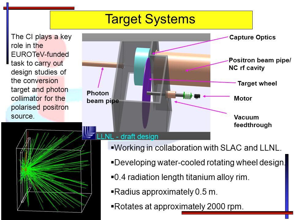 Target Systems Working in collaboration with SLAC and LLNL.