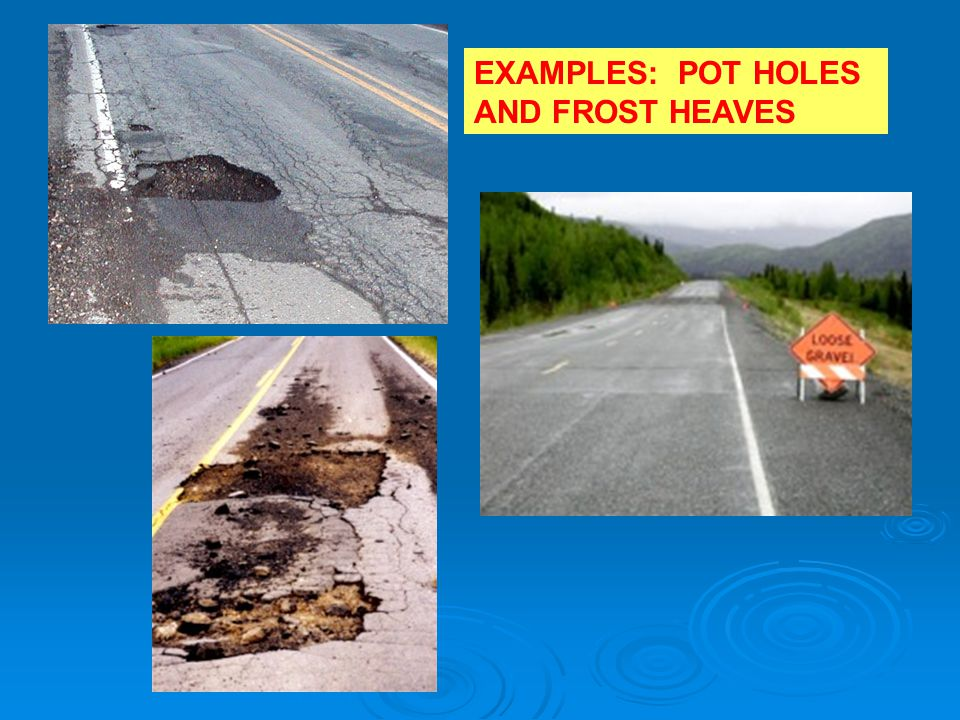 EXAMPLES: POT HOLES AND FROST HEAVES