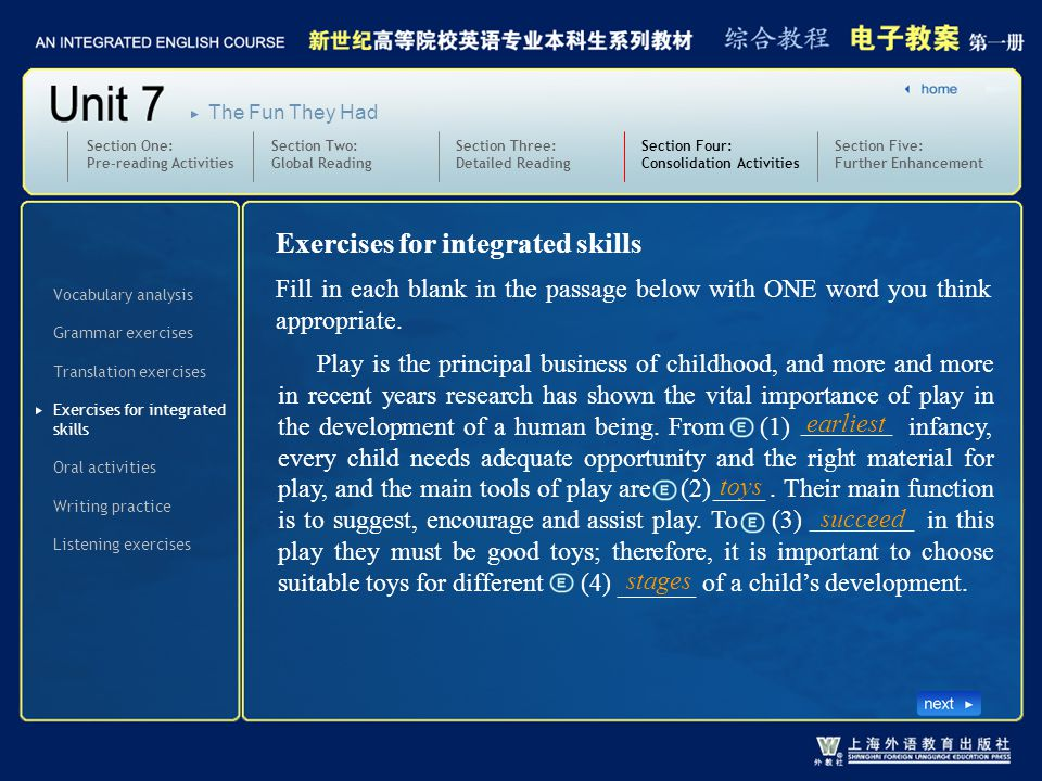 Exercises for integrated skills