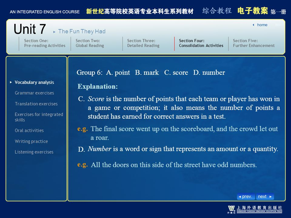 Group 6: A. point B. mark C. score D. number