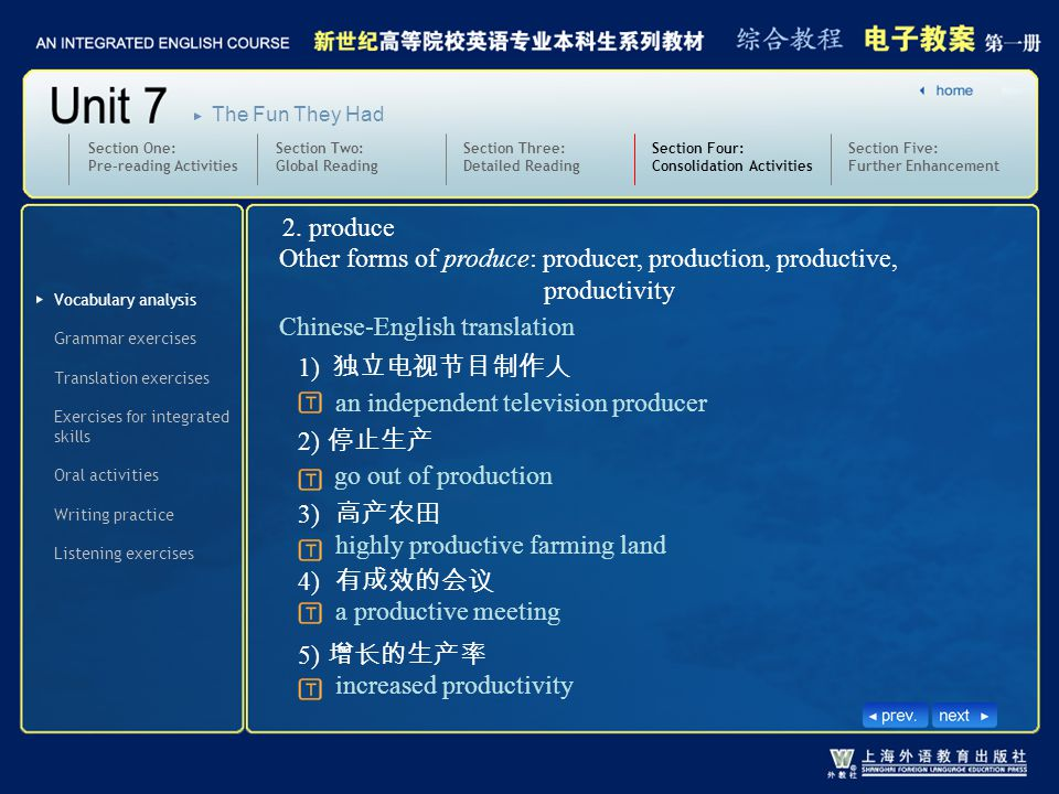 Other forms of produce: producer, production, productive, productivity